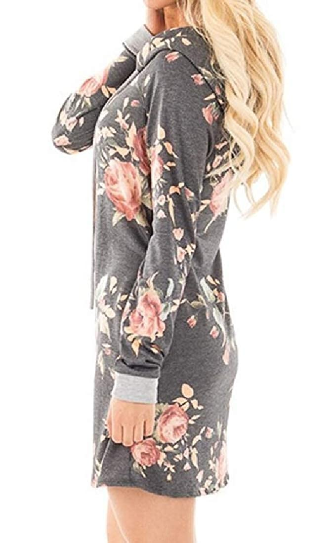YUNY Womens Floral Printed Shift Dress Longline Tracksuit Top Grey S