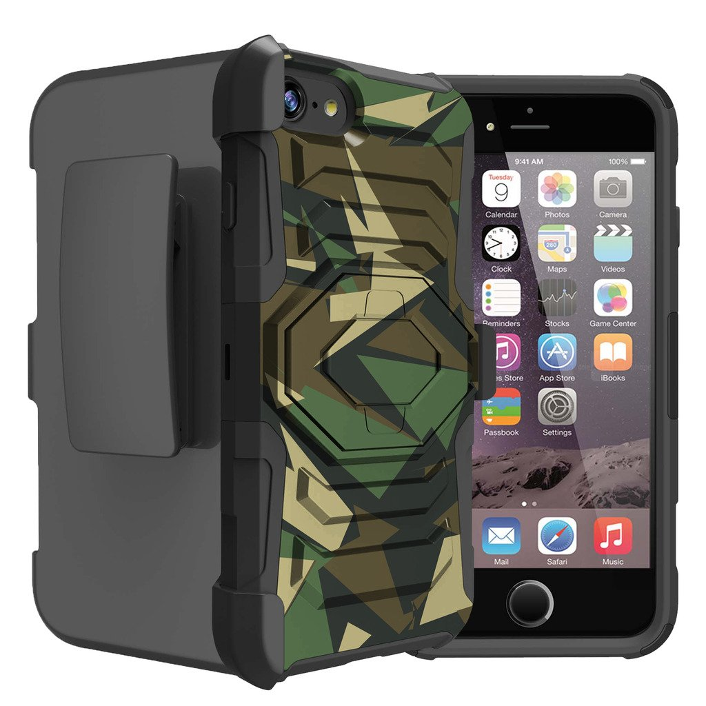 Untouchble Case for Apple iPhone 7 Case, Apple iPhone 7s Case [Max Alpha Holster] Rugged Hybrid Armor Case with Kickstand and Swivel Belt Clip - Green Camo