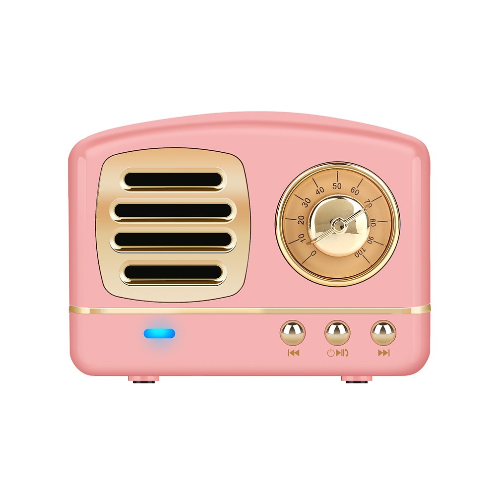 Portable Bluetooth Stereo Speaker, Dosmix Enhanced Bass Retro Wireless Vintage Speaker with TF Card Slot, Built-in Mic for Travel, Home, Beach, Kitchen, Outdoors for Android/IOS Devices(Flamingo Pink)