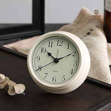 DDGOD Análogo Reloj,Viaje Reloj Despertador Clásico Silencioso Creativo Europeo Redonda Reloj Cabecera Escritorio Relojes con Pilas-Blanco ...