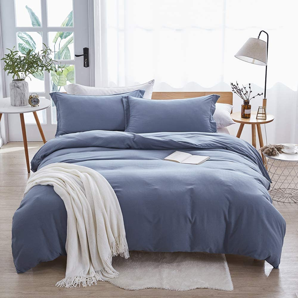 Dreaming Wapiti Duvet Cover King,100% Washed Microfiber 3pcs Bedding Duvet Cover Set,Solid Color - Soft and Breathable with Zipper Closure & Corner Ties (Haze Blue, King)