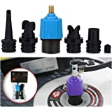 SUP Electric Pump Adaptor Compressor Air Valve Converter Multifunction Valve Adapter with 4 Air Nozzles for Halkey…