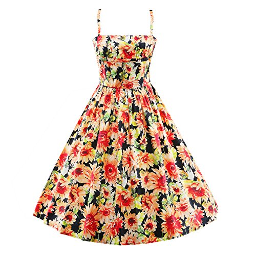LUOUSE-Womens-Vintage-1960s-Floral-Swing-Spring-Garden-Party-Ball-Gown-Dress