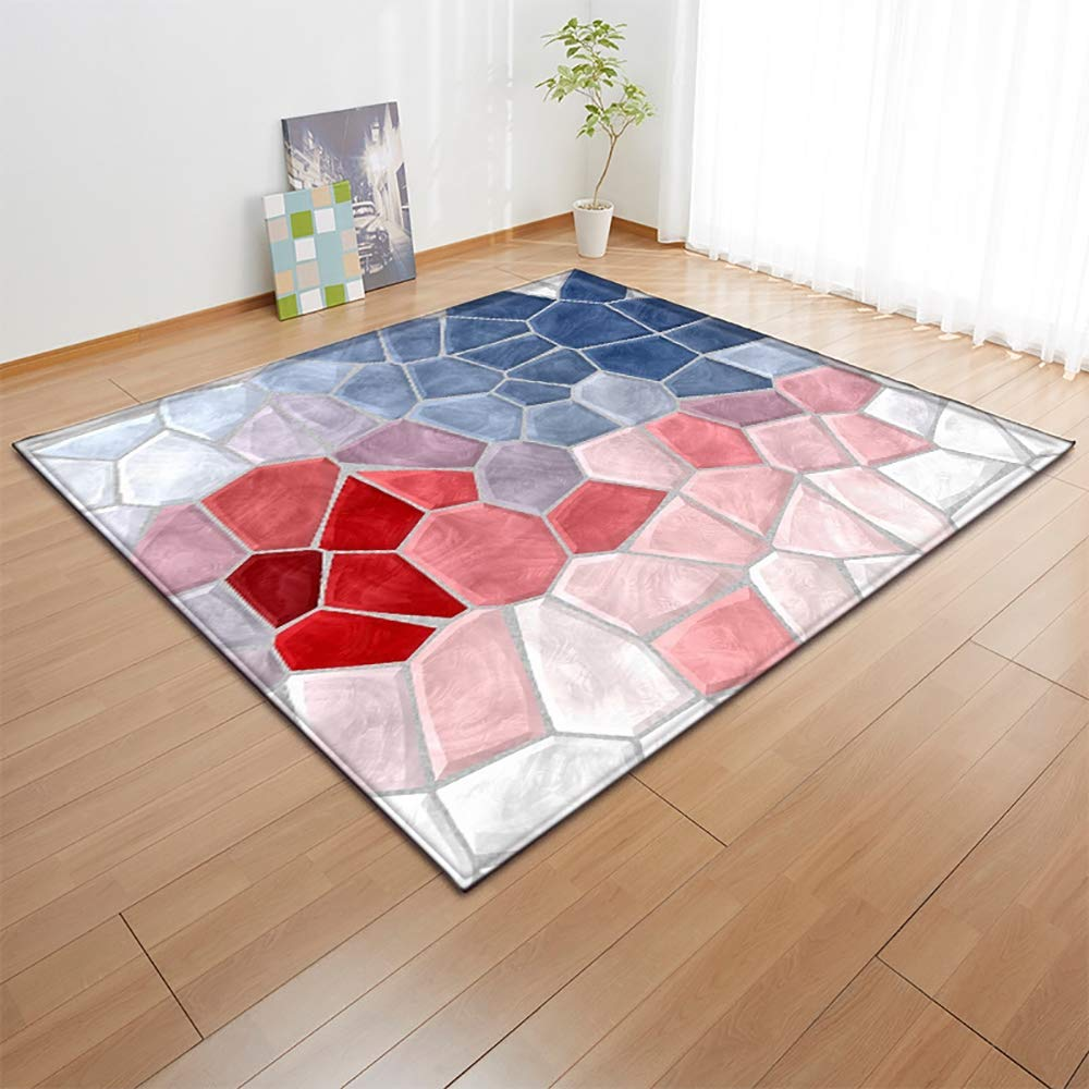 3D Colorful Living Room Large Carpets,Soft Non-Slip Floormat Child Bedroom Crawling Mat,#4,63×48in