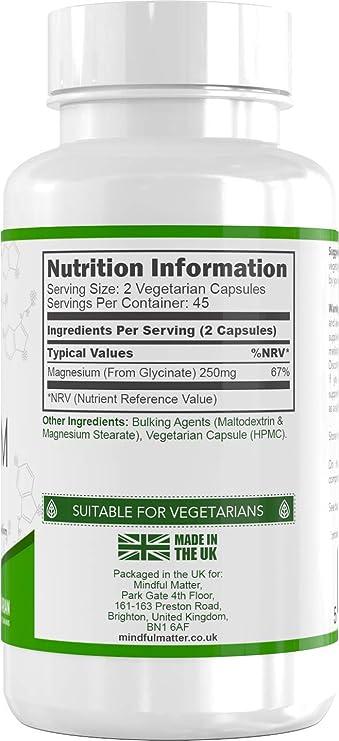 Glicinato de Magnesio 250 mg - 90 Cápsulas Vegetarianas de Mindful Matter | Altamente absorbible | PARA LA SALUD COGNITIVA Y MUSCULAR: Amazon.es: Salud y ...