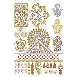 Tattify Metallic Hamsa And Indian Handpiece Temporary Tattoo - Indian Princess Sheet 2 (Set of 1 sheet) - Other Styles Available and Fashionable Temporary Tattoos