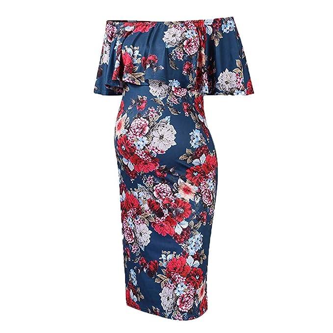 78ef8730264b1 Women's Print Off Shoulder Ruffle Plain Maternity Dress Bodycon Midi Dress  for Daily Wear Baby Shower