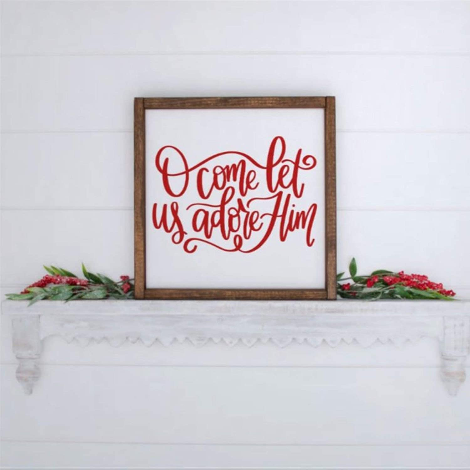 DONL9BAUER O Come Let Us Adore Him Framed Wooden Sign,Farmhouse Christmas Holiday Wood Wall Decor Sign, Wooden Plaque Art for Home,Gardens, Porch, Gallery Wall, Coffee Shops.