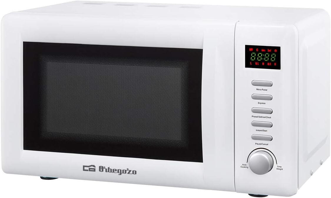Orbegozo MIG 2036 - Microondas con grill, 20 litros de capacidad, 8 menús de cocción automática, 5 niveles de potencia, display digital, temporizador 60 minutos