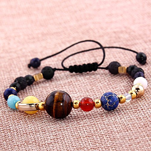 YEYULIN Handmade Galaxy Solar System Bracelet Universe Eight Planets Star Natural Stone Beads Bracelets Bangles by YEYULIN (Image #1)