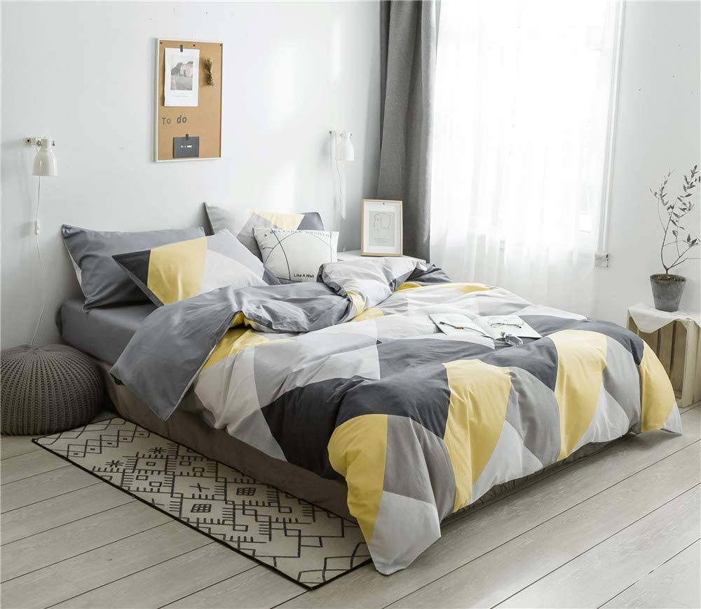 VClife Cotton Bedding Sets Gray Yellow Black Geometric Print Design (1 Duvet Cover + 2 Pillowcases) - Zipper Closure, 4 Corner Ties, Queen