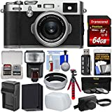Fujifilm X100F Wi-Fi Digital Camera (Silver) Leather Case + 64GB Card + Case + Flash + Battery/Charger + Tripod + Filters Kit