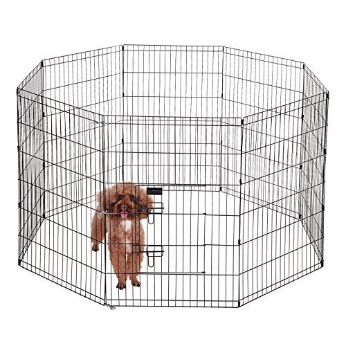 Ollieroo Dog Playpen Exercise Pen Cat Fence Pet Outdoor Indoor Cage 8 Panel Black E-coat Small (24' W x 36' H)