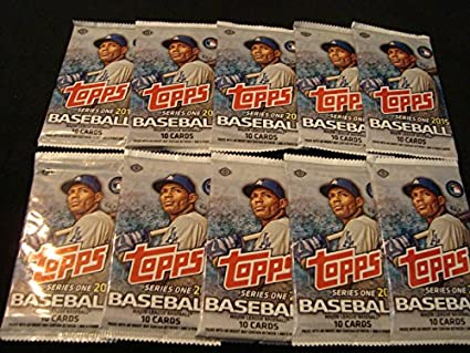 10 2015 Topps Baseball Cards Unopened Hobby Pack 10 Cardspack Look For New Rookies Special Inserts Possible Jersey Or Autograph Cards And
