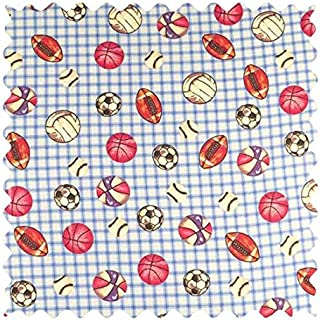 product image for SheetWorld 100% Cotton Flannel Fabric by The Yard, Sports Blue Grid, 36 x 44