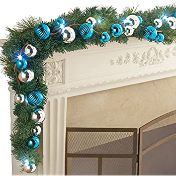 pre lit blue and silver ornament ball garland - Blue And Silver Christmas Ornaments