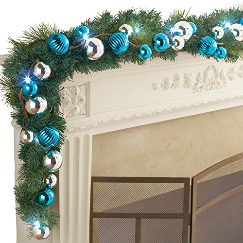 Pre-Lit Blue And Silver Ornament Ball Garland