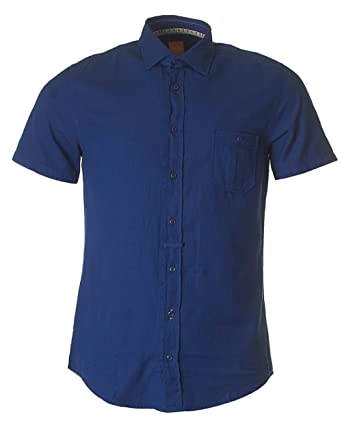 630b56af Hugo Boss Orange EslimyE Slim Fit Navy Short Sleeve Shirt S: Amazon.co.uk:  Clothing
