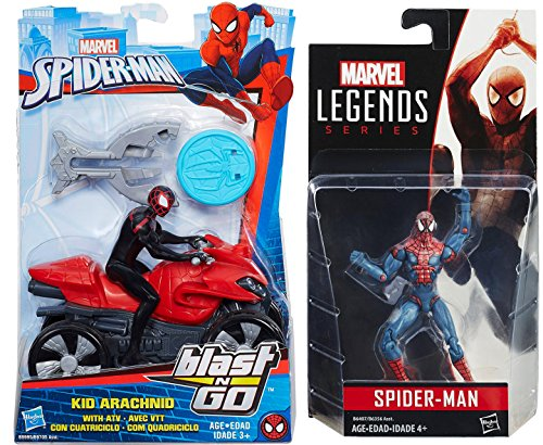 Noir Black Necklace (Spider-Man ATV Moto Blast-N-Go & Legend Series Figure / Kid Arachnid with All Terrain Off-Road Vehicle & Blaster + Classic Spider-Man Action)