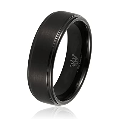 will queen 6mm mens black matte tungsten wedding bands with step edges comfort fit design engagement - Tungsten Wedding Rings
