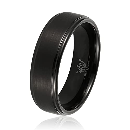 Mens Wedding Bands Will Queen Black Matte Tungsten Rings with Step