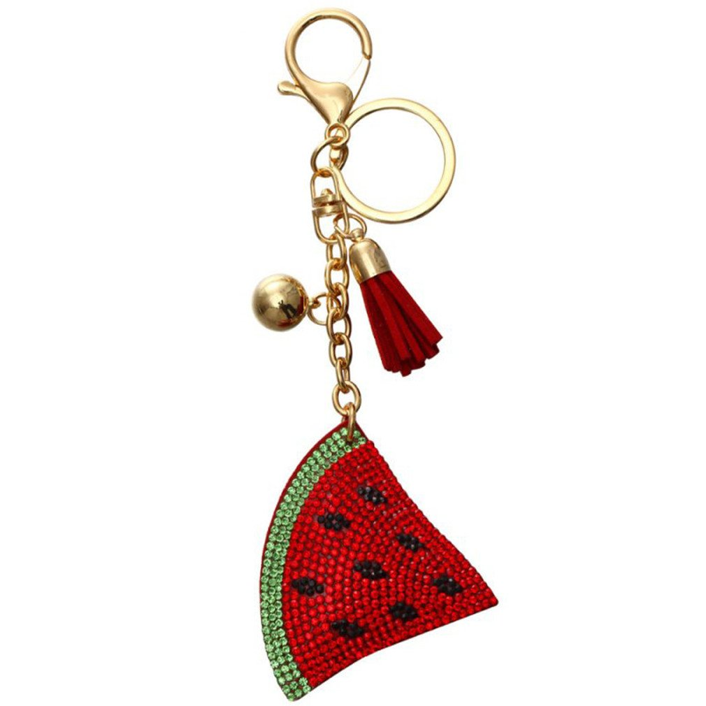 Watermelon Keychain Full Crystal Key Ring Women Handbag Pendant Charms Long Tassel Golden Chain Bag Holder