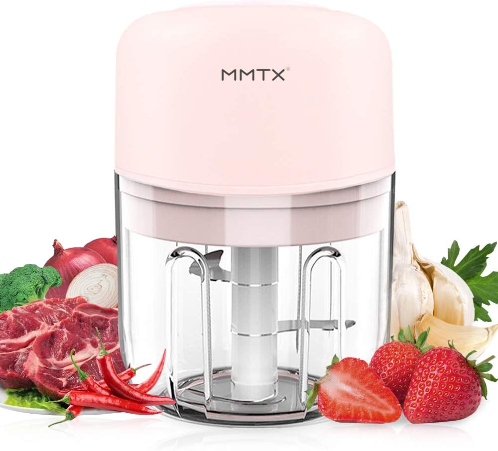 AYUQI Mini Food Processor Electric - 250ML Kitchen Food Chopper and Blender, USB Charging Portable Vegetable Fruit Meat Garlic Onion Ginger Chopper with 3 Sharp Blades Grinder for Baby Food Salad