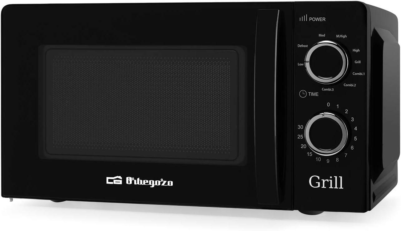 Orbegozo MIG 2131 - Microondas con grill con 20 litros de capacidad, 5 niveles de funcionamiento y 3 funciones combinadas, temporizador hasta 30 minutos, 700-900 W, Negro