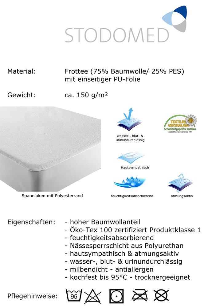 STODOMED Matratzenschutz N/ässeschutz 1 Matratzen-Spannauflage Matratzenschonbezug Matratzenschutz passend f/ür 90 x 190 cm bis 100 x 200 cm