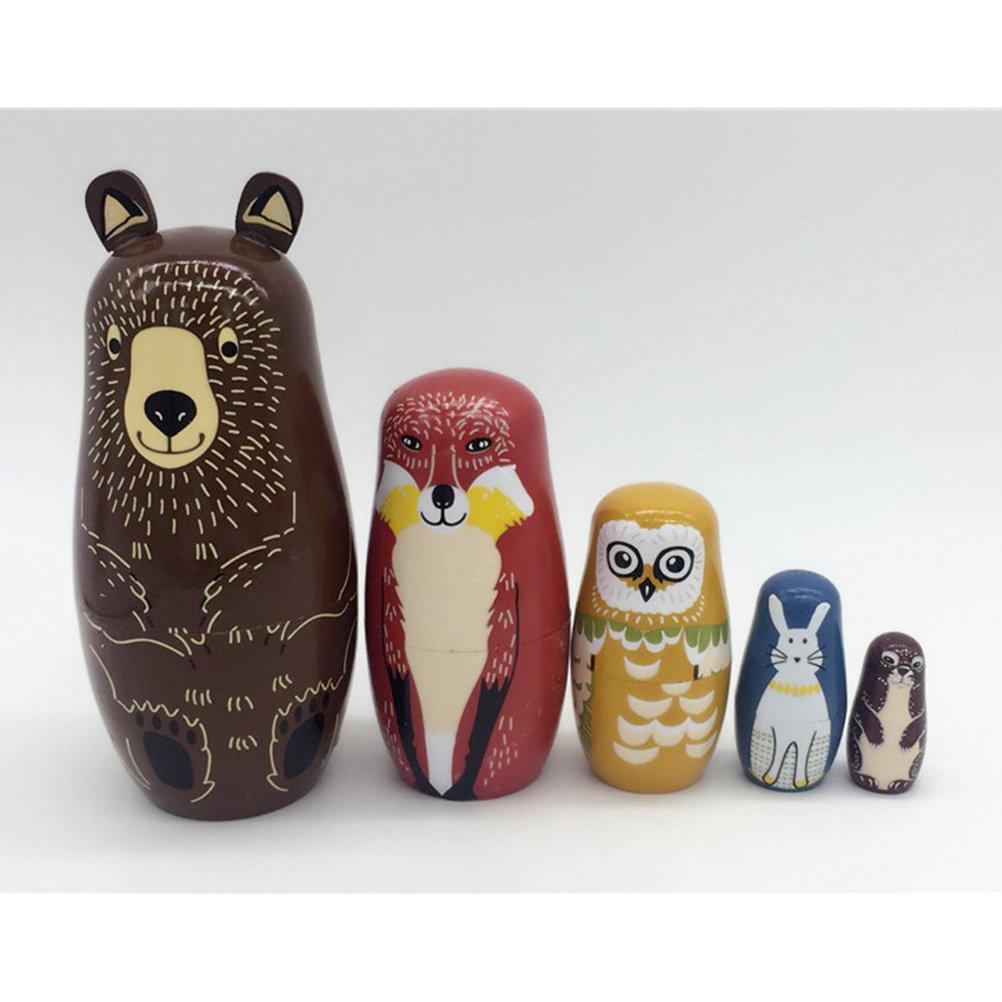 ULTNICE 5pcs Russische Matrjoschka Puppen B/är Design Stapeln Spielzeug Puppe