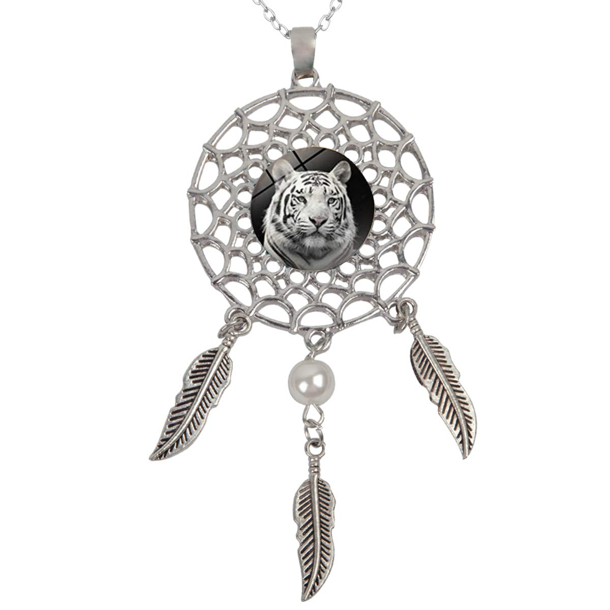 Artwork Store Womens Dreamcatcher Necklace White Tiger Pendant Dangling Feather Tassel Bead Charm Chain Fashion Jewelry