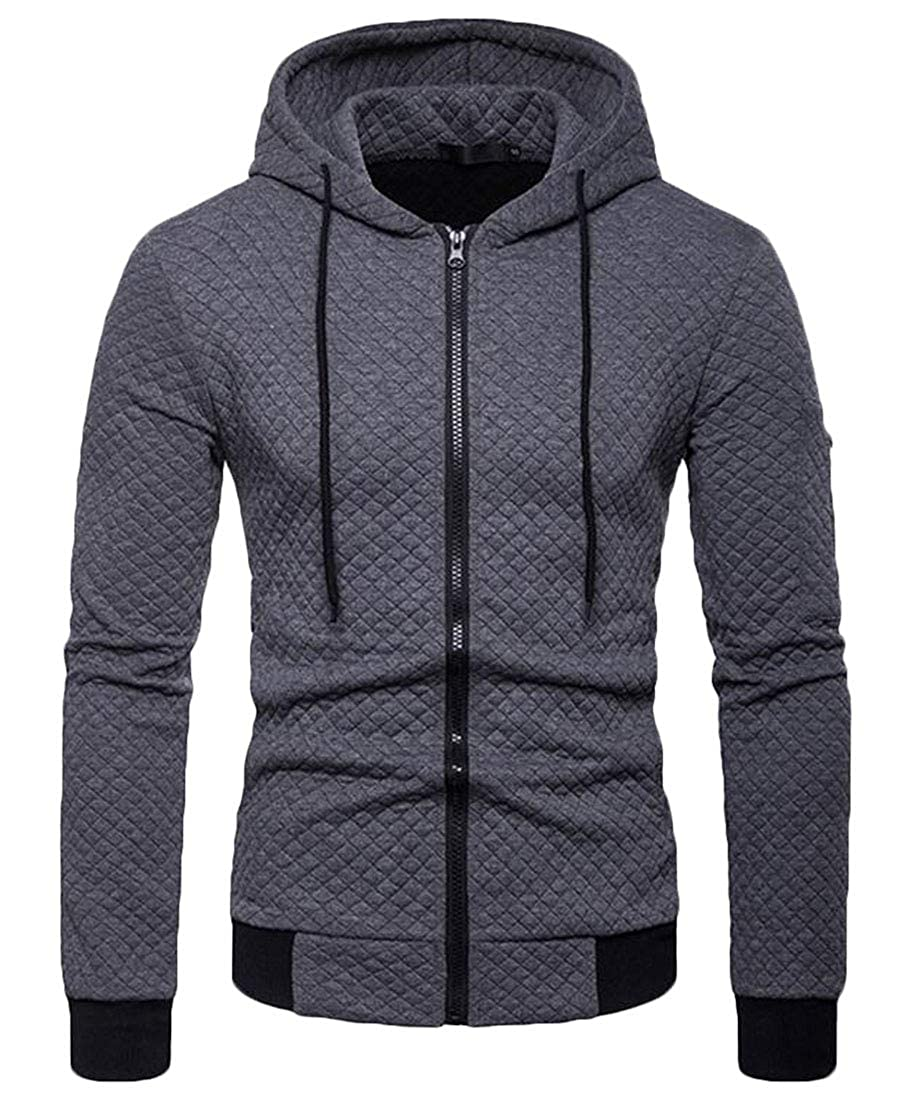 BYWX Men Outdoor Zipper Hooded Long Sleeve Sweatshirt Jackets