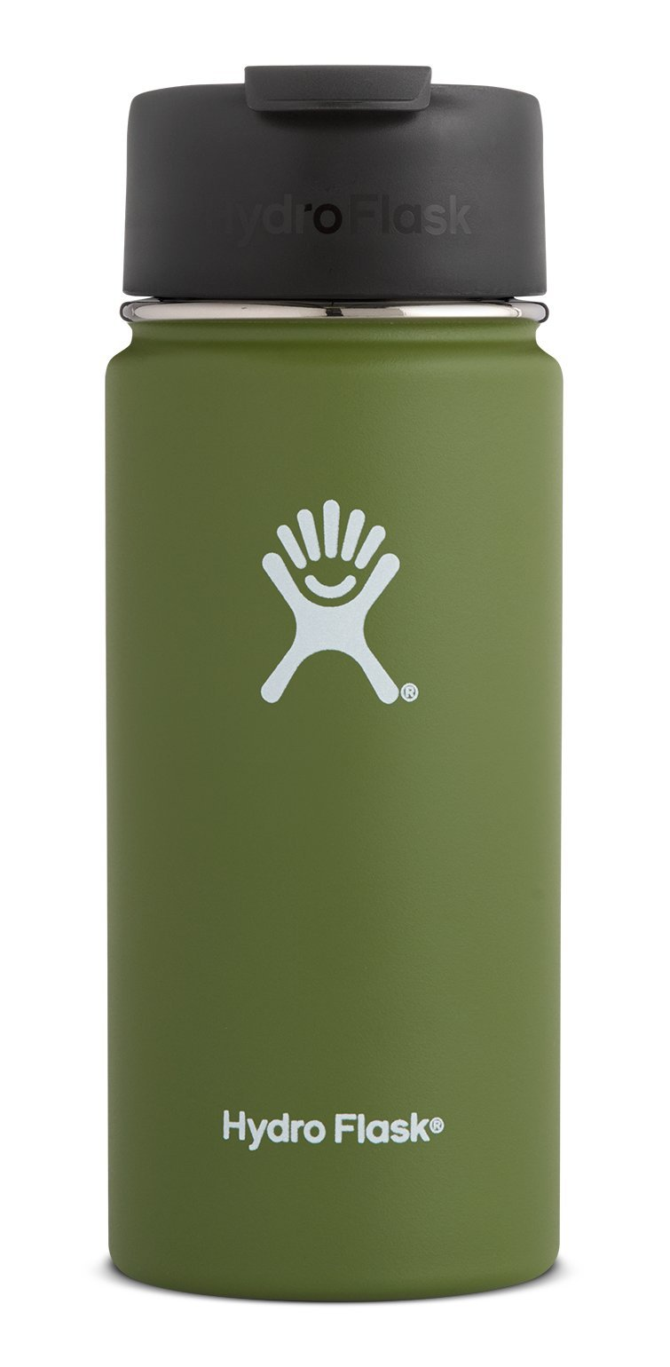 Hydro Flask 20 oz Double Wall Vacuum Insulated Stainless Steel Water Bottle/Travel Coffee Mug, Wide Mouth with BPA Free Hydro Flip Cap, Olive
