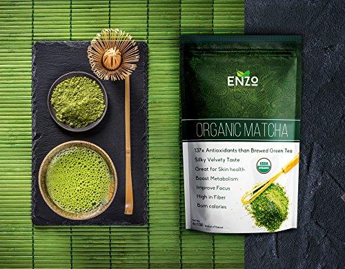 Enzo Organic Matcha Green Tea Powder from Thailand – 100% USDA Organic – 137x ANTIOXIDANTS Than Brewed Green Tea – High in Catechins & EGCG, Sugar Free – Fresh Green Color Easy to Dissolve