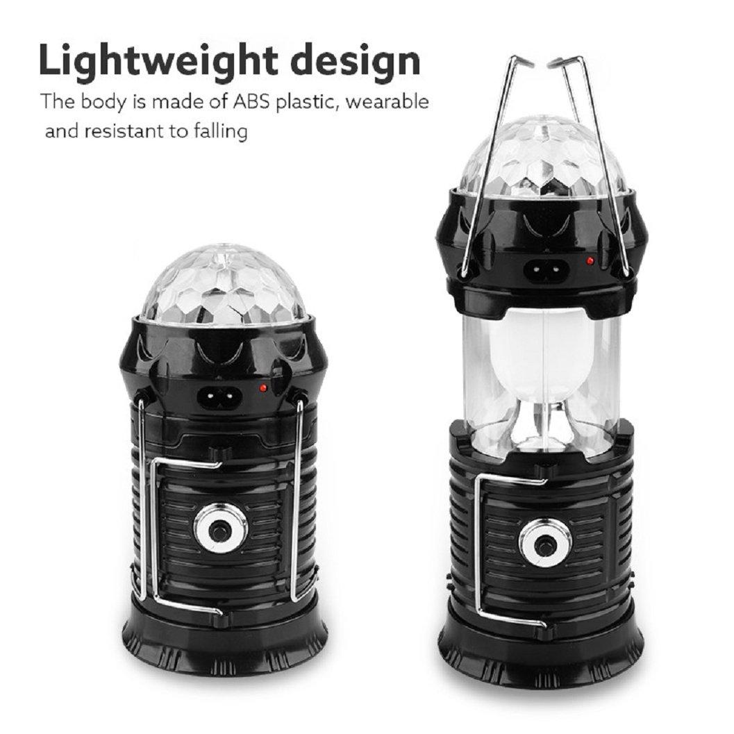 Kinrui Solar Power 3Modes Rechargeable LED Flashlight Camping Tent Light (Black)