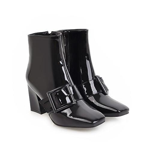 QIN&X Donna Blocco Quadrato Testa Corta Caviglia Stivali Scarpe,Black,38