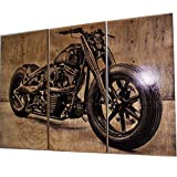 Harley Davidson Fatboy / Softail / Motorcycle / Bike Print Wood Painting / Wall Art on Stained Solid BIRCH wood. Gift for Him / Her