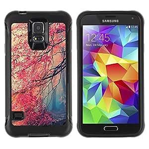 LASTONE PHONE CASE / Suave Silicona Caso Carcasa de Caucho Funda para Samsung Galaxy S5 SM-G900 / Fall Red Trees Forest Leaves Mystery