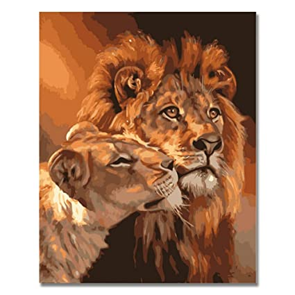 Amazon Com Rihe Lion Kings Diy Coloring Oil Painting Paint By