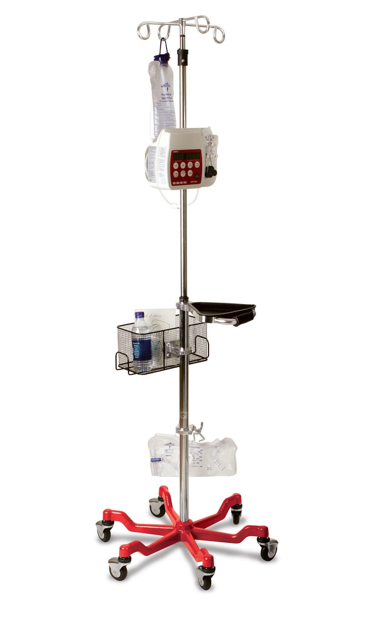 Medline MDS80600RED Six Leg Heavy Duty IV Pole Stand, 4 Hook, Stainless Steel, Latex Free, 73'' to 99.5'' Adjustable Height, Black Base (Pack of 2) by Medline (Image #1)