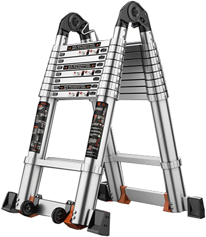 LJSJT Escaleras Plegables Aleación de Aluminio Plegable Altura Ajustable Escalera de 8 escalones Peso del rodamiento 150kg 2.8 + 2.8m: Amazon.es: Hogar