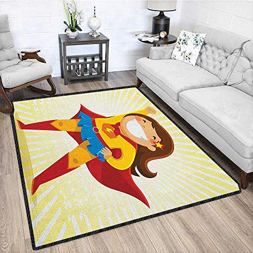 Superhero Graceful Area Rug,Courageous Little Girl with a Big Smile in Costume Standing in a Heroic Position Carpet for Children Home Decorate Multicolor 79