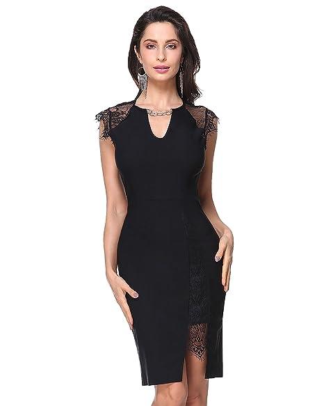 86677376010 KENANCY Women Lace Bodycon Midi Dress Cap Sleeve Cocktail Pencil Dress Black  S