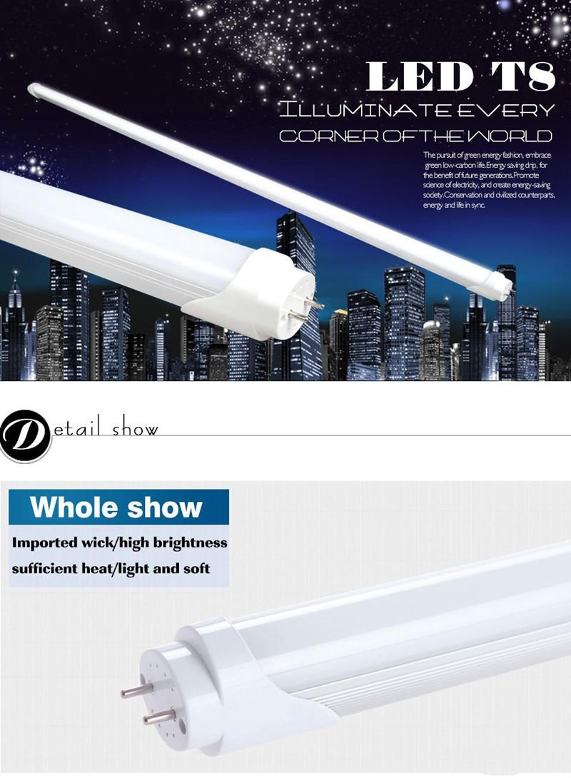 Easy-Installing & Eco-Friendly T8 LED Tube Light - 2FT 24'' 10W (18W Equivalent), Double-End Powered, Milky Cover, Works from 85-265VAC Fluorescent Replacement Lamp (1, Cool White 6000K-6500K) by Aurora Australis (Image #3)