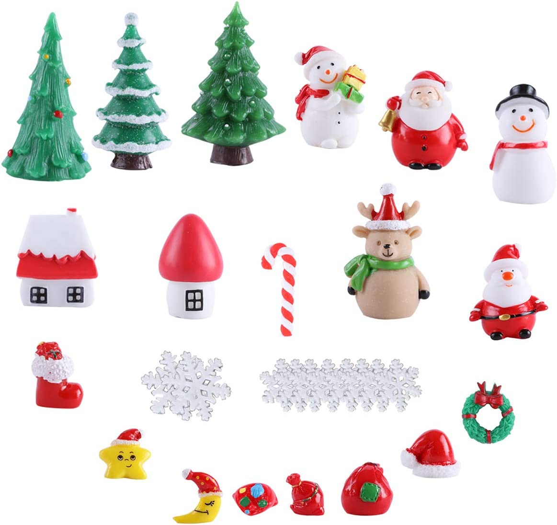 Fashionclubs Christmas Miniature Ornaments,29pcs Xmas Miniature Figurines Resin Toys Fairy Garden Christmas Accessories DIY Christmas Tree Snowman Santa Claus Houses Micro Landscape Crafts Ornament