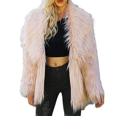Chaqueta de Mujeres ,BBestseller Invierno Abrigo de Sintética Moda Solapa Faux Pelaje Corto Outerwear Cazadora Jerséis Casual Manga Larga Parkas Coat: ...