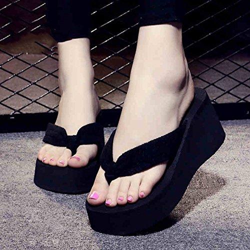 Mujeres Señoras Sandalias Talones altos Pista femenina del verano con los deslizadores inferiores gruesos Zapatos de la playa Zapatillas frescas de la manera un tamaño demasiado pequeño (los 3cm anter #1