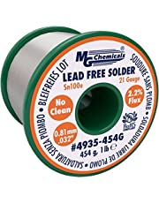 """MG Chemicals Sn100e, 99.5% Tin, 0.5% Copper, Trace of Cobalt, Lead Free Solder, No Clean, 0.81mm.032"""" Dia."""