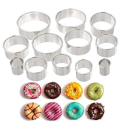 Redonda de acero inoxidable Anillo de moldes para hornear moldes para masa, fondant, Donut