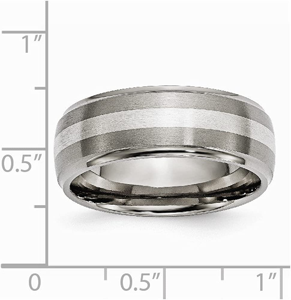 Jewels By Lux Titanium Sterling Silver Inlay Flat 6mm Polished Band